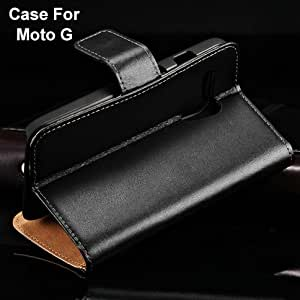 Genuine Leather Wallet with Stand Case For Motorola Moto G With Card Holders Flip Phone Bag Cover Luxury Business 2 Styles BOB --- Color:Style 1 white