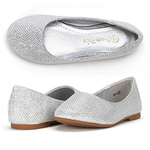 id Muy Silver Glitter Girl's Mary Jane Ballerina Flat Shoes - 3 M US Little Kid ()