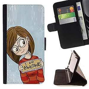 - smart awesome inspirational girl glasses - - Prima caja de la PU billetera de cuero con ranuras para tarjetas, efectivo desmontable correa para l Funny HouseFOR Sony Xperia Z1 Compact D5503