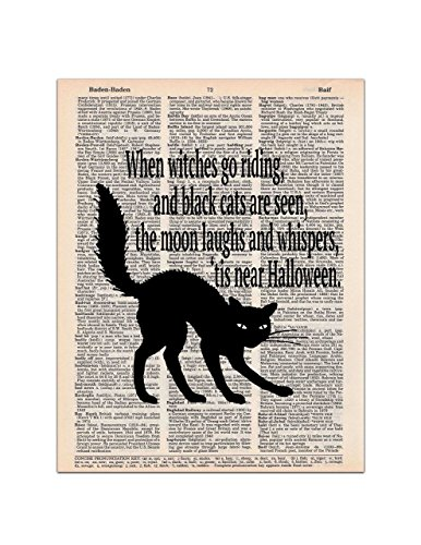 Halloween Black Cat and Poem, Dictionary Page Art Print, 8x11 UNFRAMED