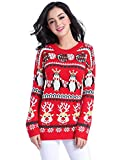 v28 Ugly Christmas Sweater, Women Girl Long Vintage Knit Xmas Warm Pulli Sweater