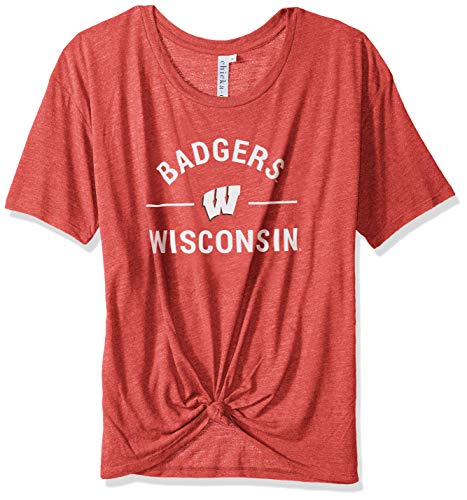 chicka-d NCAA Officially Licensed University of Wisconsin Ladies Boyfriend Knot Tee/T-Shirt/Short Sleeve - Wisconsin Badgers Women's Apparel -
