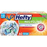 Hefty Recycling Trash Bags (Clear, Tall Kitchen Drawstring, 13 Gallon, 60 Count)