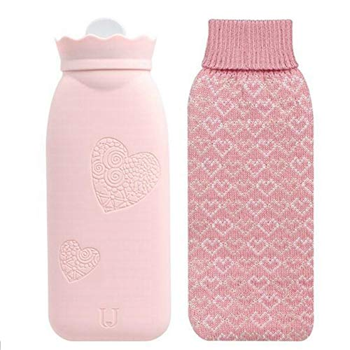 Silicone Hot Water Bottle Winter Hands Warm Water Bag Mini Portable Explosion-Proof with Knitted Cover