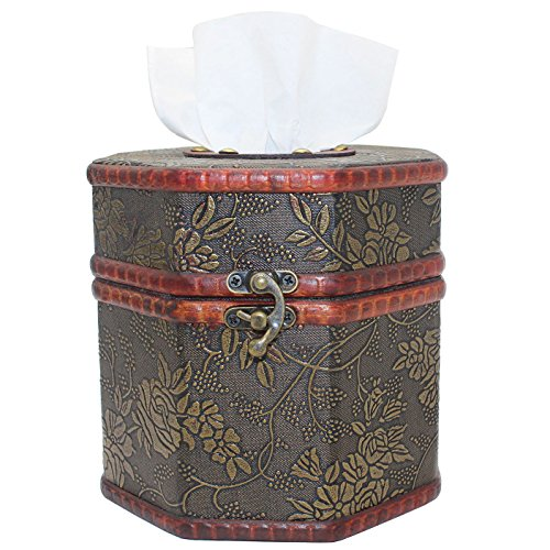 - ZOHUMI Vintage Tissue Box Cover, Wooden Octagonal Tissue Box Holder/Dispenser