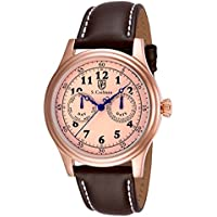 S Coifman Rose Dial Brown Leather Men's Watch