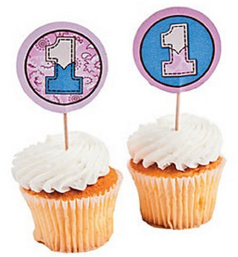 1st Birthday Pink Cowgirl Large Cupcake Picks 25PC./Western Theme/Baby/Party Supplies/Baking Supplies