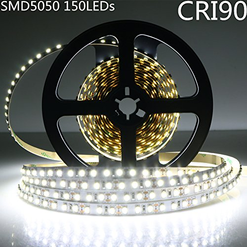 LightingWill LED Strip Lights CRI90 SMD5050 16.4Ft(5M) 150LEDs Nature White 4000K-4500K 30LEDs/M DC12V 36W 7.2W/M 10mm White PCB Flexible Ribbon Strip with Adhesive Tape Non-Waterproof H5050NW150N