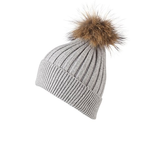 HAT137-Knitted Ribbed Bobble Hat with Detachable Pom Pom in Grey Grey