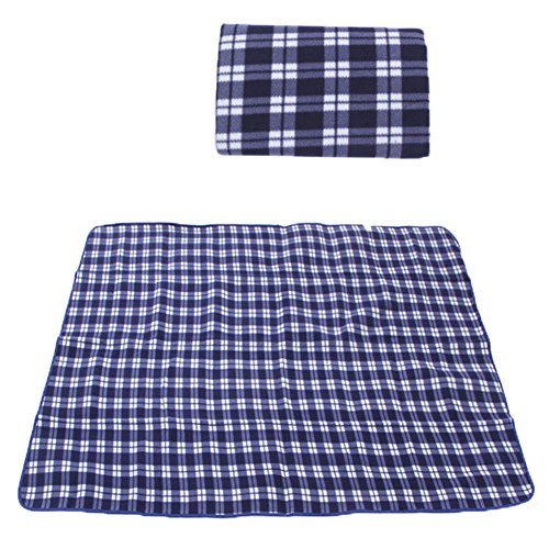 X-dtit Blanket Three Layers Water-Resistant Portable Extra Large Cozy Flocking Fabric Picnic blanket for Outdoor Hiking Camping Stadium Beach (blue) (Blanket Two Windproof Layer)