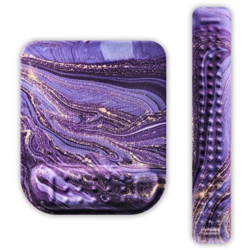 Keyboard Wrist Rest and Mouse Pad Wrist Rest Set Gel Wrist Support for Relieve Wrist Pain, Typist, Avid Gamer, Compact Perfect Height Cushion Pad Ergonomic Acupoint Massage Support-Purple Marble (Purple Keyboard Wrist Pad)