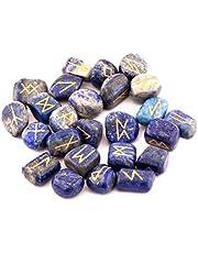 Ädelsten Runor med graverade bokstäver och påse (Lapis Lazuli)