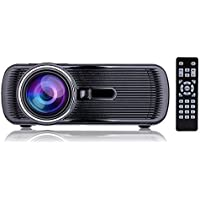 YBB 1000 Lumens HD Video Projector LED Projector 1080P, Keystone Correction, Support USB/AV/HDMI/VGA/SD/TV for Home Cinema Theater, Laptop, iPad, iPhone and Android Smartphone, Black
