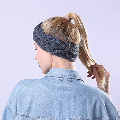 2 PK Women Crisscross Headband Knit Hairband Ear Warmer Winter Headwrap Hairband