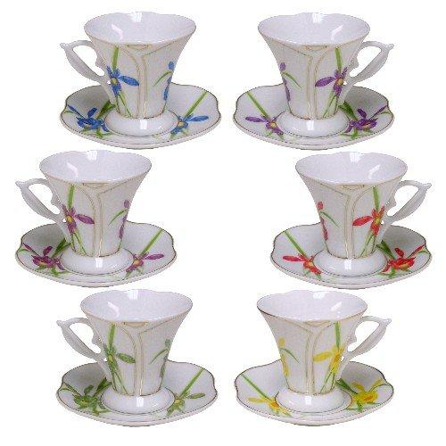Floral Print Porcelain 12 Piece Demitasse Set -
