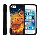 Apple iPhone SE case, iPhone 5 Case , iPhone 5s Cover Hybrid Dual Layer Case with Kickstand STRIKE IMPACT Basketball | Miniturtle - Basketball on Fire