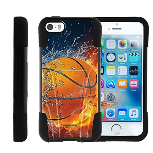 MINITURTLE Case Compatible w/ Apple iPhone SE case, iPhone 5 Case , iPhone 5s Cover Hybrid Dual Layer Case W/ Stand STRIKE IMPACT Basketball Basketball on Fire