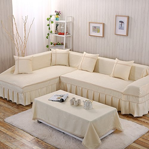 Gatycallaty L-Shaped Sofa Cover;Multi-Seater L Shape cushion Towel;Armchair Loveseat Sofa Furniture Protector (Beige, Facing Left+Large - Village Sofa Furniture