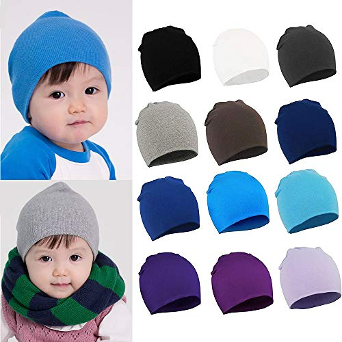 American Trends Toddler Infant Kids Beanies Unisex Cotton Knit Hat Casual Stretchy Warm Cozy Cap For Cute Baby Boy/Girl Red S ()