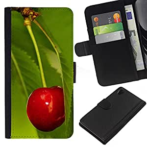 All Phone Most Case / Oferta Especial Cáscara Funda de cuero Monedero Cubierta de proteccion Caso / Wallet Case for Sony Xperia Z2 D6502 // Fruit Macro Cherry Leaf