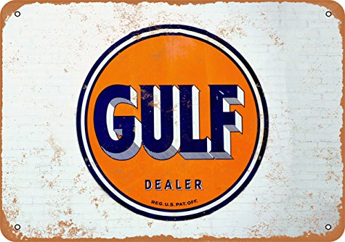 (Wall-Color 7 x 10 Metal Sign - Gulf Oil Dealer - Vintage Look)
