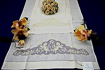 ricchissimi toallas 1 + 1 de puro lino.Bordado Sfilato Siciliano ángeles a mano: Amazon.es: Hogar