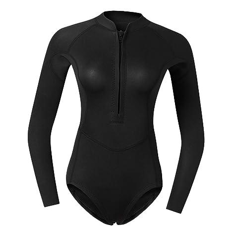 83f9ef68f4 Baosity Women 2mm Neoprene Long Sleeve Wetsuit Front Zip Diving Bikini Suit  Swimwear for Snorkeling Surfing