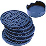 Enkore Drink Coasters Silicone Set of 6 With Holder, Deep Navy - Good Grip, Large Size Deep Condensation Trap - Furniture Friendly Than Thirstystone