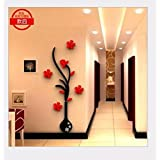 T-Mida Home,Crystal Stereo 3D acrylic mirror wall stickers room TV background wall of porch beautification decoration, vase wall stickers,Section 32*80cm