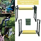 Evokem Garden Kneeler Bench, Foldable Garden Kneeler Seat with Tool Pouch and EVA Kneeling Pad Handles (Yellow)