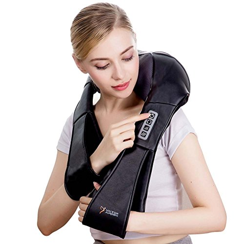 Shiatsu Massage Therapy (VIKTOR JURGEN Shiatsu Massage Therapy Kneading Neck And Back Foot Electric Massager with Heat for Foot, Back, Neck and Shoulder Pain - Relieves Sore Muscles - Full Body)