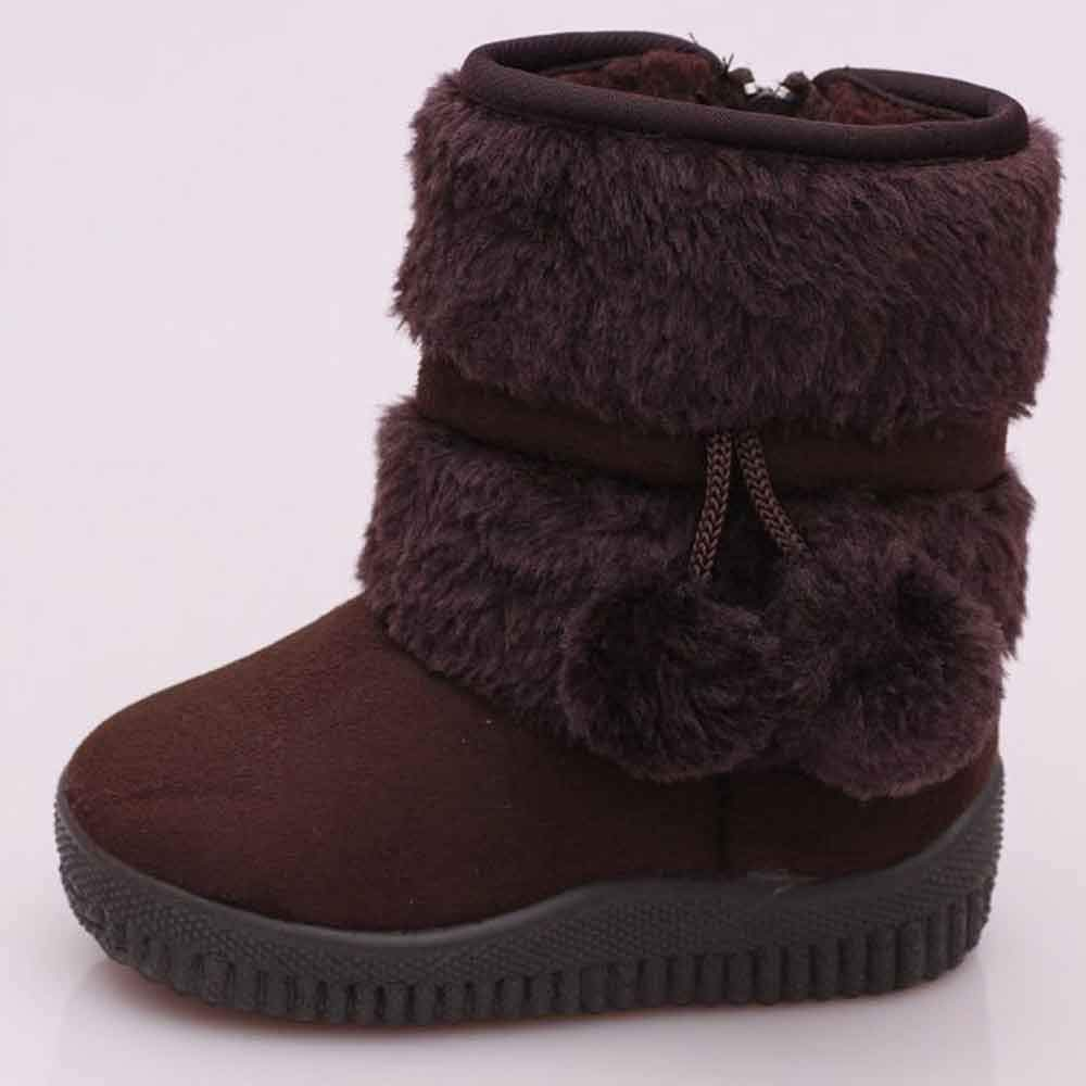 Fashion Bbay Girls Snow Boots Fur Fleece Winter Warm Shoes Hair Ball Rubber Soft Cute Boot