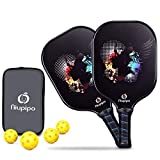 Graphite Pickleball Paddle Set, Graphite Carbon Fiber Face Pickleball Racket with Cushion 4.25In Comfort Grip Size and Nomex Honeycomb Core Racket,2 Paddles 4 Pickleball Balls 1 Bag, 7.8-8.2 oz.