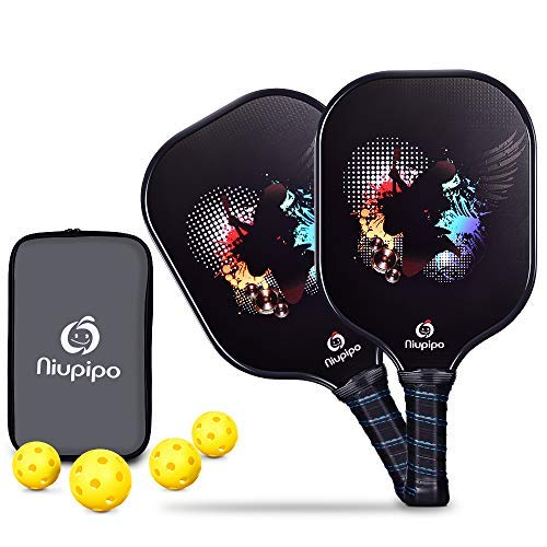 Pickleball Paddle, Graphite Pickleball Rackets Set of 2 Pickleball Racquets 4 Pickleball Balls 1 Bag, Polypropylene Honeycomb Core, Graphite Face Cushion 4.25In Grip Lightweight Pickleball Paddles 8oz