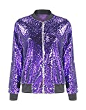 HaoDuoYi Womens Casual Lightweight Sequin Zipper Bomber Jacket(S,Purple)