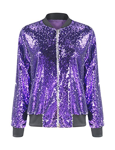 Purple Sequin - HaoDuoYi Womens Casual Lightweight Sequin Zipper Bomber Jacket(L,Purple)