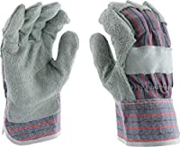West Chester 400-SCR L Economy Split Cowhide Leather Patch Palm Gloves, Large, Gray Blue Red (Pack of 12)