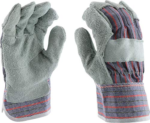 West Chester 400-SCR L Economy Split Cowhide Leather Patch Palm Gloves, Large, Gray Blue Red (Pack of (Cowhide Striped Gloves)