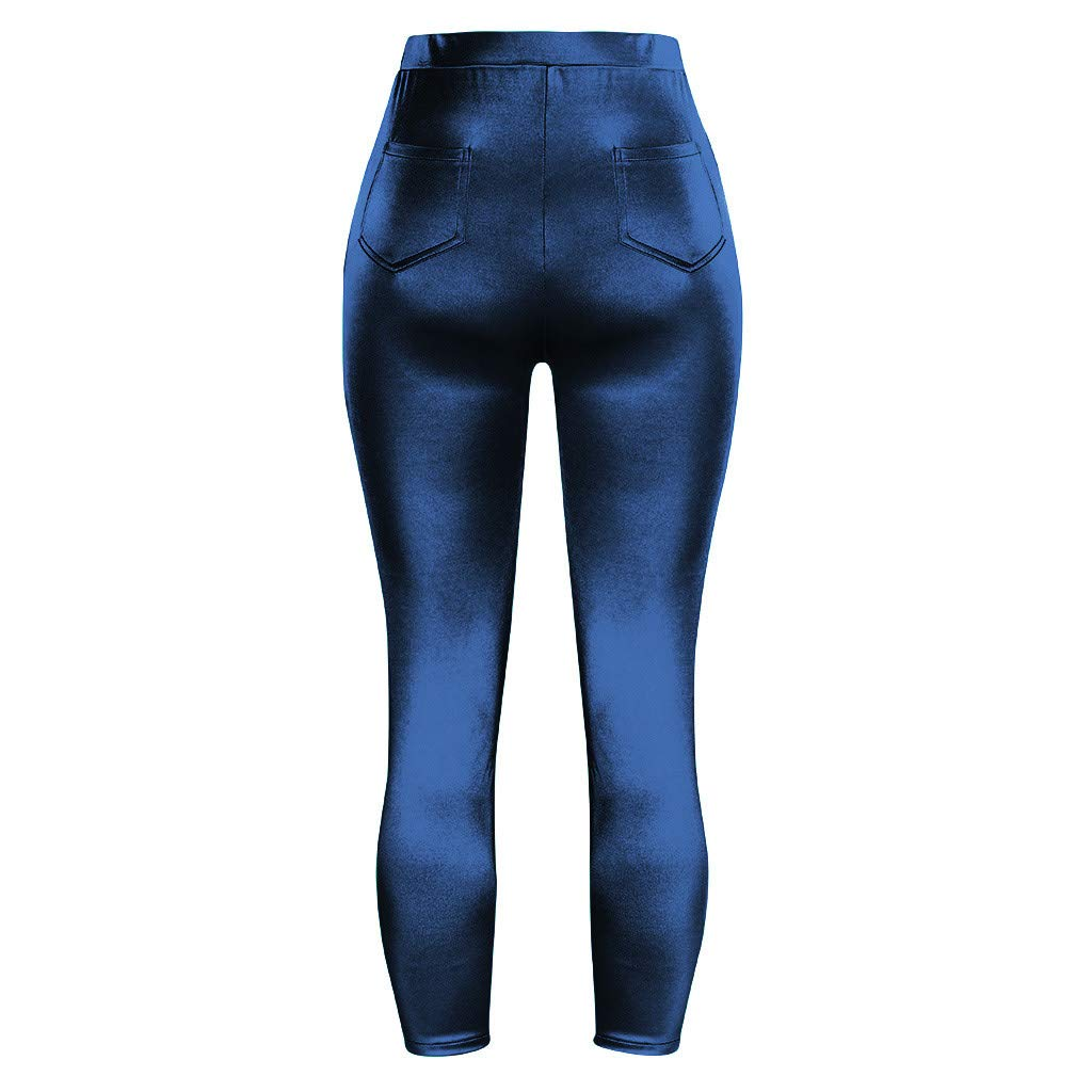 Ximandi Womens Glossy High Waist Stretch Sports Leggings Casual Yoga Athletic Pants