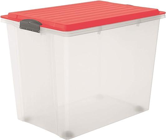 Rotho Compact Caja de almacenamiento de 70 l con tapa y ruedas, Plástico (PP), Transparente/coral: Amazon.es: Hogar