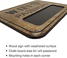 Includes a Mini Chalkboard to Display WiFi Password WiFi Password Sign Made from Distressed Weathered Surface Wood White