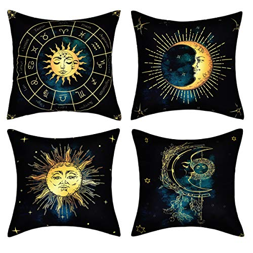 (BLEUM CADE Sun and Moon Throw Pillow Cover Burning Sun and Constellation Pillow Cover Set of 4 Mystic Pillowcase for Sofa Couch Bed Car Office (Black Yellow, 18 x 18 Inch))