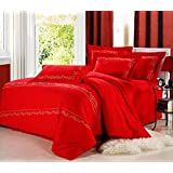 GL&G European cotton satin embroidery four - piece fashion simple embroidery cotton quilt bed linen,R,null