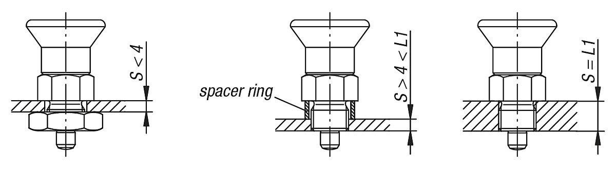 forma: C termopl/ástico modelo corto k0631.7410 productos: acero 1/pieza Kipp pernos de bloqueo endurecida Talla 4/M20/x 1,5 D = 10