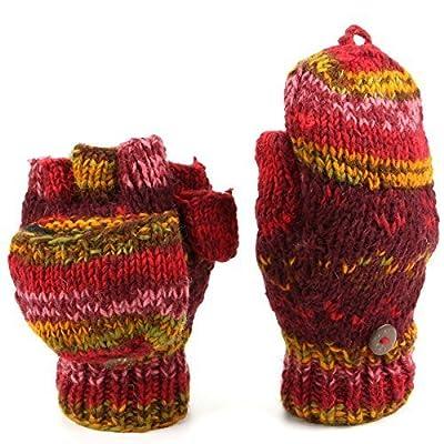 loudelephant laine tricot Mitaines TIREUR Gants avec plein DOUBLURE POLAIRE - Colorant de l'espace - Rouge, One size