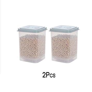 Z@SS-Cocina alimentos latas selladas granos de cereales leche en polvo tanque de almacenamiento de plástico con cuchara de caja de almacenamiento fresca 2 ...