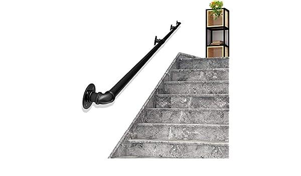 Pasamanos Escaleras contemporánea de 30~600cm Industrial Hierro Negro Barra de Pared Baranda de la Barra de Toalla for Uso en Interiores o al Aire Libre en los pasillos, rampas o escaleras Baño