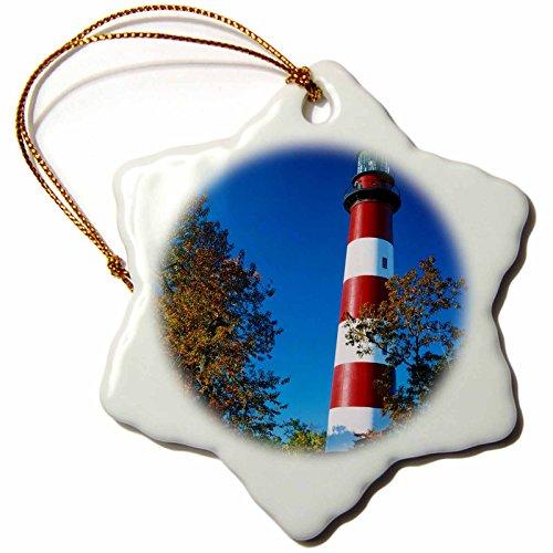 3dRose Danita Delimont - Charles Gurche - Lighthouses - USA, Virginia, Assateague Island, Assateague Lighthouse. - 3 inch Snowflake Porcelain Ornament (orn_189803_1)