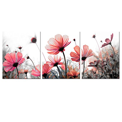 Canvas Wall Art Black White Pink Flowers Picture Images Wall Decoration Framed and Stretched Wall Art Floral Wall Art (16