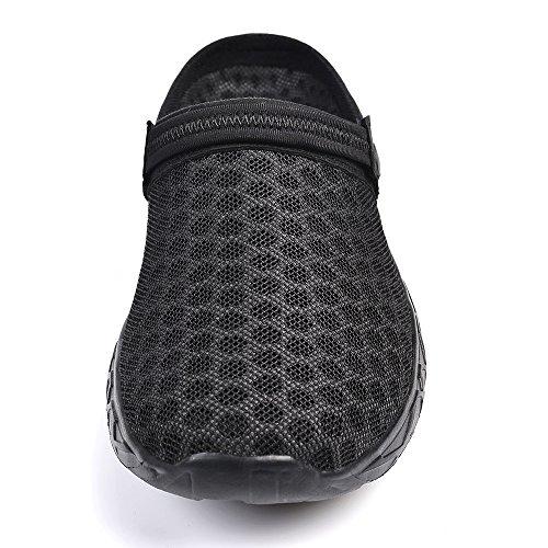 Creeker Zuecos Respirable Acoplamiento Sandalias para Mujeres de Playa Piscina Jardín Zapatos Verano de Malla Transpirable Negro